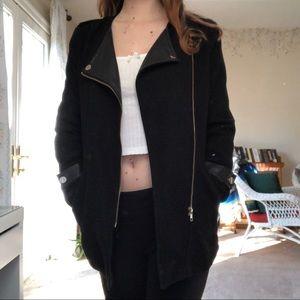 SHEIN Jackets & Coats - faux leather lapel black coat
